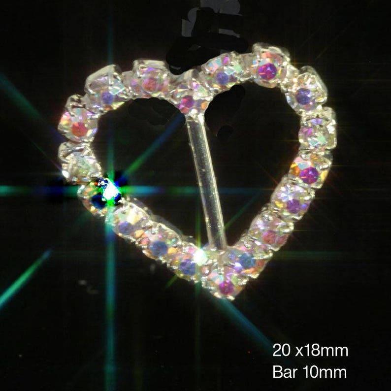 10 x Diamante Heart AB Rainbow Effect