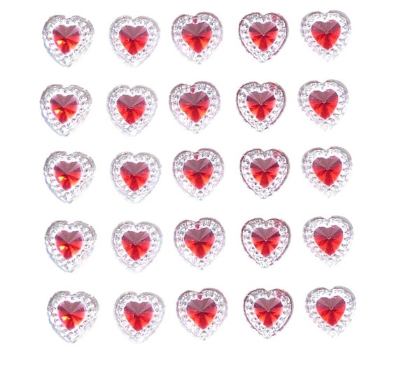 24 x 17mm Self Adhesive DIAMANTE Stick on Double Hearts Gems Clear