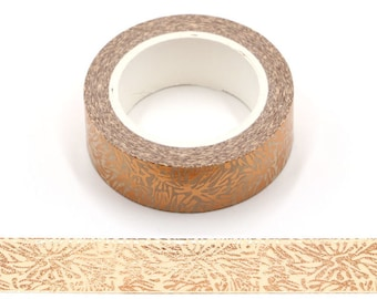 Snow Flower Gold Foil Washi Tape  Decorative  Masking Tape 15mm x 10 Meters Eco Friendly