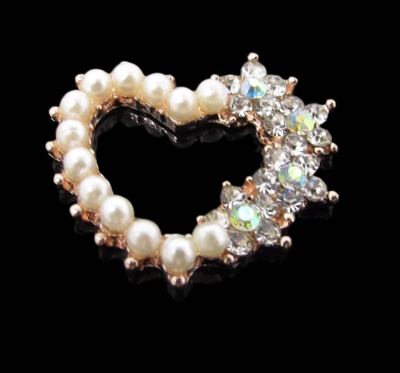 Cards Great For Crafts 10 x Rose Gold Heart Shaped AB Diamante and Pearl Cluster Embellishments Wedding Invitations