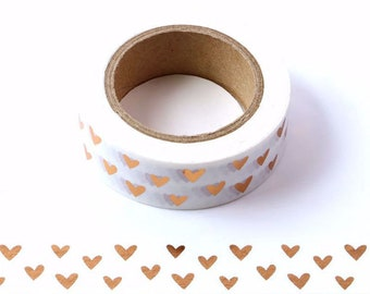 Gold Foil Hearts Washi Tape Hearts Decorative Tape, Gift Wrapping Tape, Scrapbook Supplies, Crafting Tape Eco Friendly