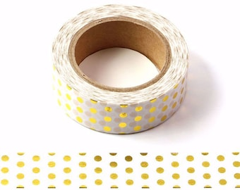 White and Gold Foil Polka Dots Decorative Washi Tape 15mm x 10 Meters