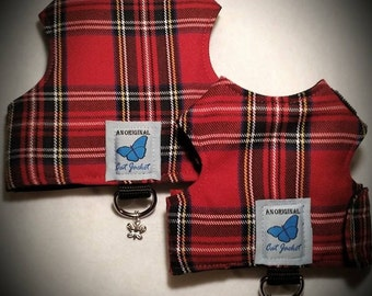 "Escape proof when sized and fitted correctly, Red Tartan Plaid  ""Butterfly Cat Jackets"" walking harness, jacket, holster, vest"