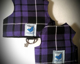 "Escape proof when sized and fitted correctly, Purple Tartan Plaid  ""Butterfly Cat Jackets"" walking harness, jacket, holster, vest"