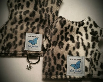 "Escape proof when sized and fitted correctly, Faux Fur Snow Leopard ""Butterfly Cat Jackets"" walking harness, jacket, holster, vest"