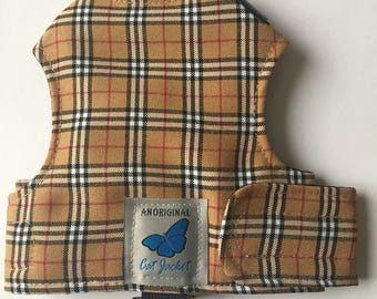"Escape proof when sized and fitted correctly, Caramel Tartan Plaid ""Butterfly Cat Jackets"" walking harness, jacket, holster"