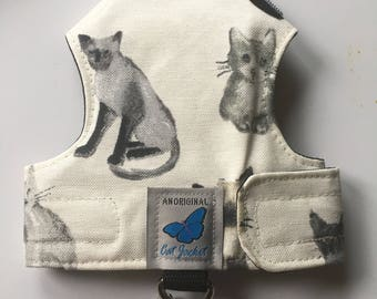 "Escape proof when sized and fitted correctly, Cream/Grey cats   ""Butterfly Cat Jackets"" walking harness, jacket, holster,"