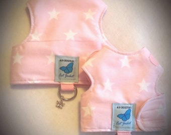 "Escape proof when sized and fitted correctly, Baby Pink Stars ""Butterfly Cat Jackets"" walking harness, jacket, holster, vest"