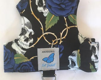 "Escape proof when sized and fitted correctly, Skull & Roses Blue ""Butterfly Cat Jackets"" walking harness, jacket, holster, vest"