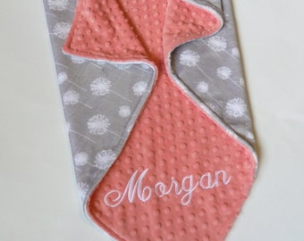 Personalized Minky Baby Blanket or Lovey - Premier Dandelion Cuddle Silver/Snow - Baby Girl - Custom Made - Double Minky- gray and coral