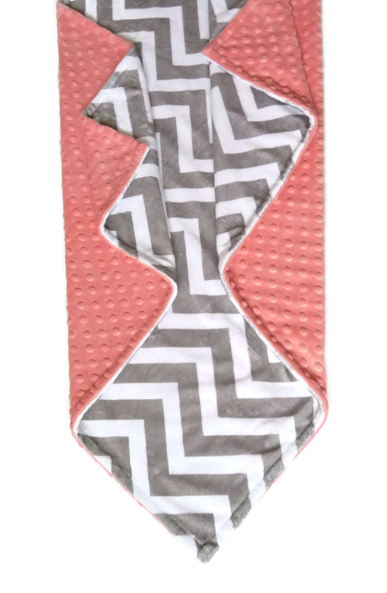 Personalized Baby Blanket or Lovey Baby Girl or Boy blanket Gray Chevron Minky Blanket Coral Blanket Chevron Baby Blanket