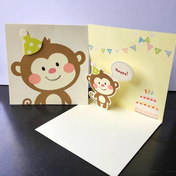 Pop Up Cheeky Monkey Happy Birthday Card Kids Animal Cute