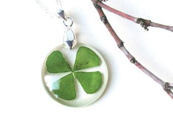 Clover necklace real 4 clover pendant , st. patricks day jewelry  Shamrock pendant  Lucky charm necklace