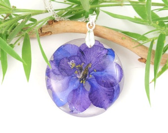 Handmade Flower Resin Necklace Larkspur, Pressed Flower jewelry, Botanical Necklace, Nature jewelry, Real Flower Jewelry, Birth month July
