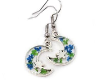 Crescent Moon flower resin dangle earrings, Pressed flower celestial moon jewelry