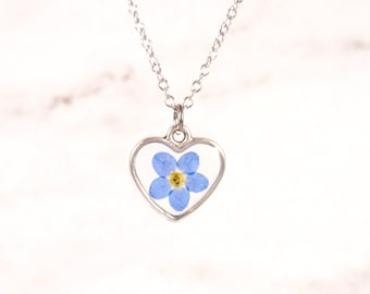 Forget me not flower heart shape necklace