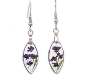 Flower drop earrings Alyssum flower resin earrings pressed flowers