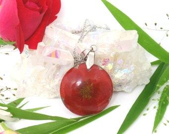 Red rose necklace, Birth Month flower June, Pressed Flower necklace