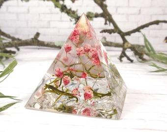 Resin pyramid real flowers arrangement house decor, spiritual gift, Paperweight
