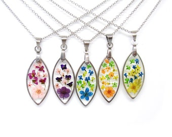 Pressed flower small necklace real flower necklace dainty resin jewelry