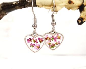 Alyssum pink flower resin dangle earrings, Pressed flower heart earrings