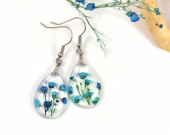 Botanical Resin Earrings with blue Babys breath flowers, Pressed Flowers, Real flower, Plant Earrings, Nature earrings, Floral jewelry