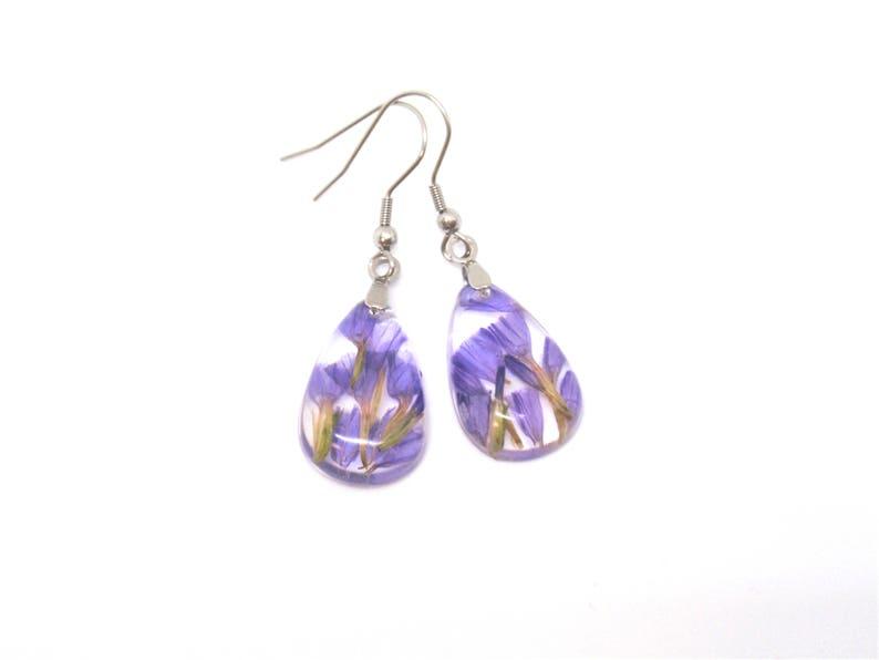 4d43f51907b844 Real purple flower Resin Earrings Pressed Flower Botanical | Etsy