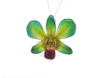Orchid flower necklace Nobile Dendrobium Orchid  Resin  Botanical jewelry
