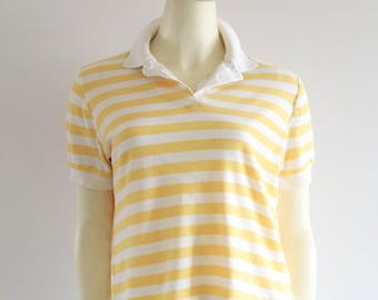15ea9a4641a 80 s Vintage Pale Yellow Striped Contempo Casuals Polo Shirt