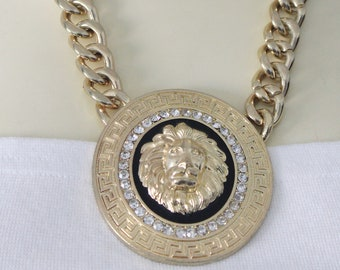 90's Vintage Goldtone Lion Head Iced Out Gold Chain Rhi-Rhi Style Necklace