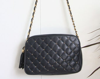 5fdbfa8d42e2 Navy Faux Quilted Leather Gold Stud Gold Chain Link Tassel Crossbody Bag