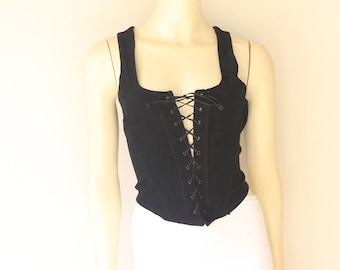 90's Black Corset Front Plastic Bone Lace Up Zip Back Tank Bustier