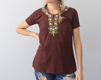 70's Vintage Brown Embroidered Appliqué East Indies Boho Tunic