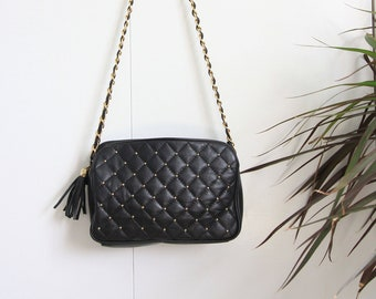 5858536f4c0e Black Faux Quilted Leather Gold Stud Gold Chain Link Tassel Crossbody Bag
