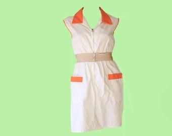 1f8a8e8942d0 70's Mod White and Orange Trim Cinch Waist Mini Dress
