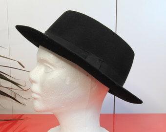 3cae7dbaf36257 80's Vintage Black Duckie Style New Wave Fedora Hat