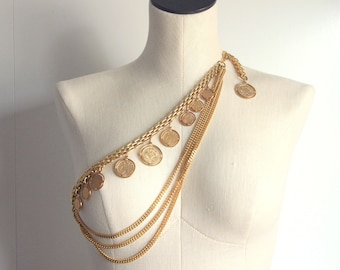 a5bdcd08d LUX 80's Gold Multi Chain Coin Belt