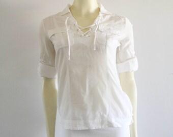 ff95a4173c7a2 90s Vintage BEBE White Cotton Corset Lace Half Sleeve Poet Blouse