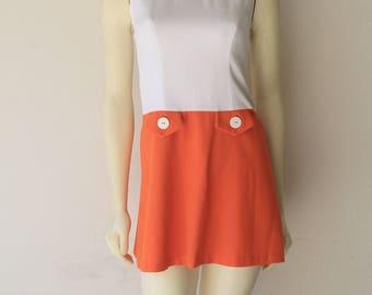 90' Vintage Bright Orange Nanette Lepore Mod Inspired Mini Dress