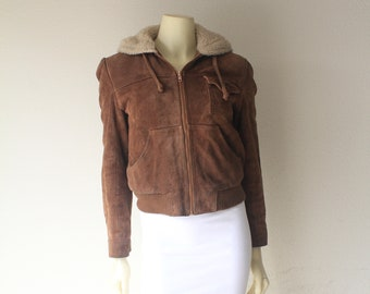 Late 70's Vintage Tan Suede + Shearling Hooded Bomber Jacket
