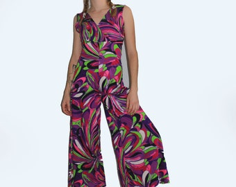 1b906463701 60 s Psychedelic Purple Tone Wide Leg Cropped Jumpsuit