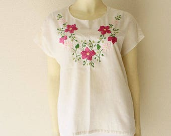 70's Vintage Pink Tones Floral Hand Embroidered 'Honduras' Off White Cotton Tunic