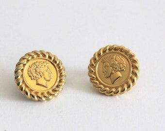 270f33ff0ea052 LUX 80's Vintage Gold Chain Parisian Coin Stud Earrings