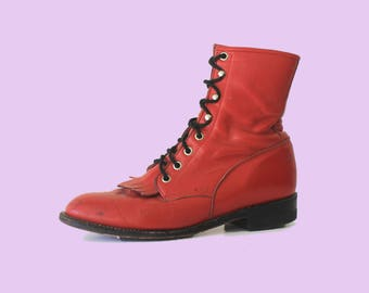 44b0291fad90 Red leather Vintage Justin Lace Up Kiltie Roper Boots