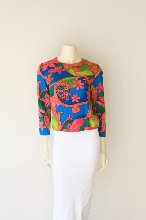60s Vintage Psychedelic Crew Neck Cropped Sleeve '