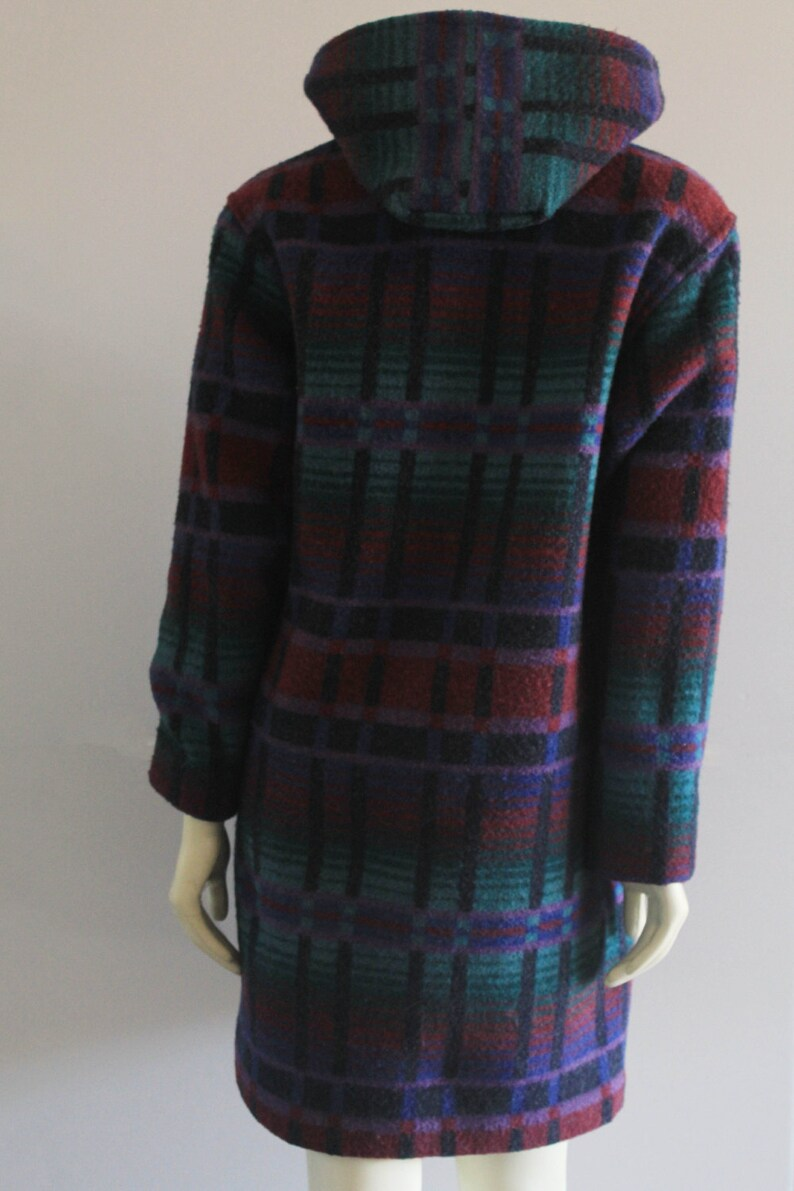Late 70/'s Vintage L.L.Bean Teal Purple /& Burgundy Hooded Wool Coat w Toggle Buttons