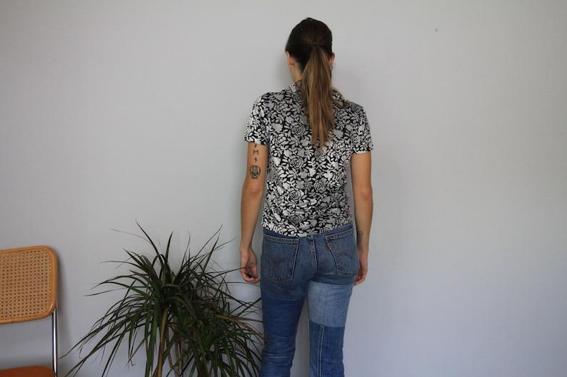 90/'s Velvet Burn Out Black White Floral Top