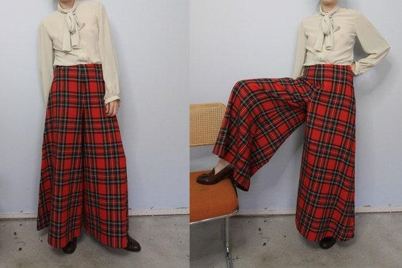 70's Wide Leg Tartan Plaid Saks 5th Avenue Wool P… - image 1
