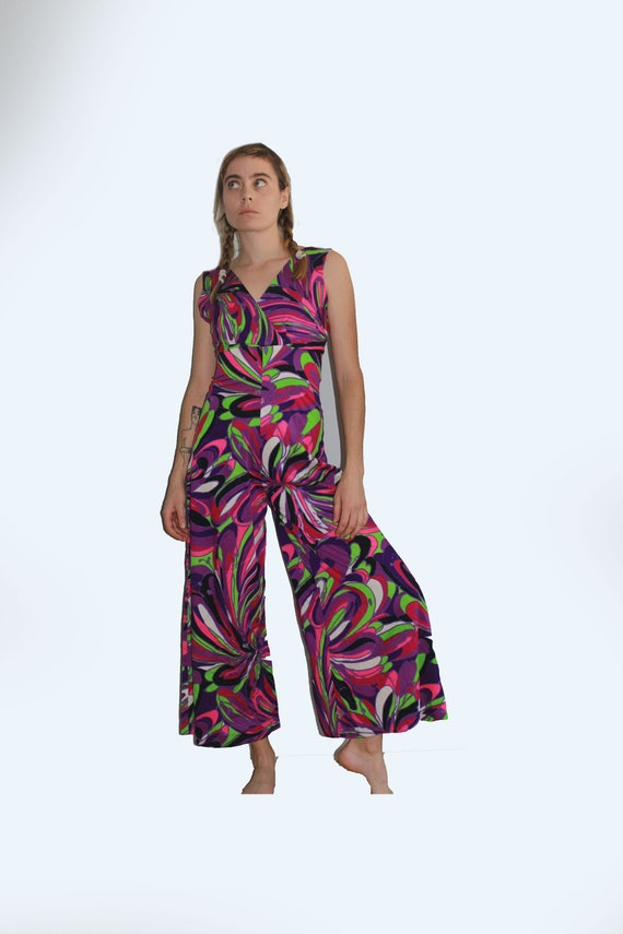 60's Psychedelic Purple Tone Wide Leg Cropped Jump