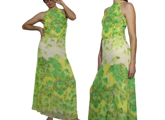 Caché Green Chartreuse Chiffon  Halter Top  Maxi S